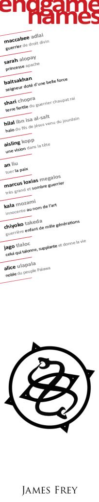 endgame names noms james frey marque-page bookmark