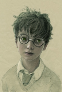 Portrait de Harry par Jim Kay dans la nouvelle version illustrée de L'école des sorciers. (Magnifique *.*)